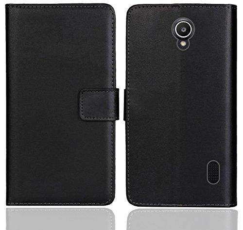 Huawei Y635 Handy Tasche, FoneExpert® Wallet Hülle Flip Cover Hüllen Etui Ledertasche Lederhülle Premium Schutzhülle für Huawei Y635 (Schwarz Farbe)