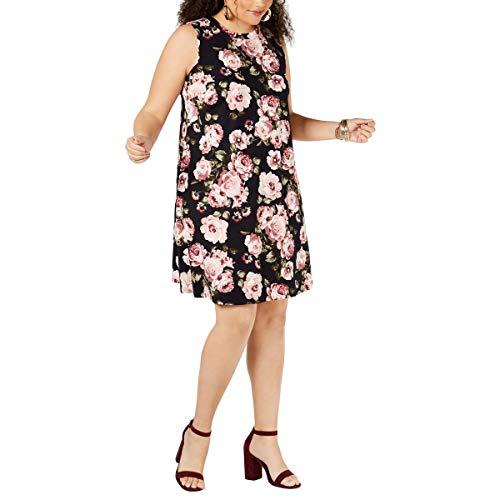 BCX Womens Juniors Floral Stretch Tank Dress Navy 2X