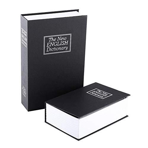 Jiawu Caja Fuerte para Libros con Cerradura de Llave, Caja Fuerte portátil de Metal, Caja Fuerte Oculta para Libros, Caja Fuerte para Libros de Diccionario, Negro midium de 9.5'x 6.1' x 2 .2'(Midium)