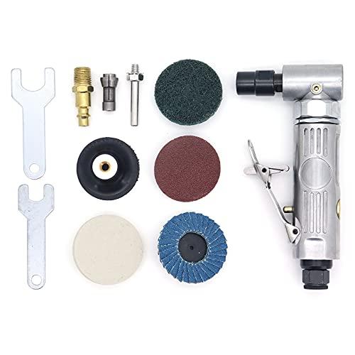 Yuhtech 90 Grados Mini Lijadora Neumática 1/4 Pulgadas Pulidora Neumática Amoladora de Ángulo de Aire Comprimido para Moler, Pulir, con Disco de Pulido de 2 Pulgadas
