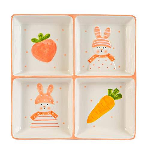 Nicola Spring Conejo de Pascua Snack-Plate - pintado a mano bufé Partido Utensilios para servir Vajilla - 20cm - Blanco