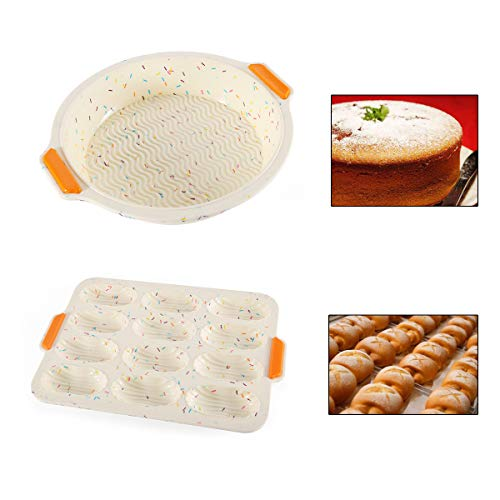 Qiundar Silicone Torta Stampo Rotondo, 2 PCS Stampo Rotondo Tortiera di Silicone Stampo Madeleine Round Cake Pan per la Torta di Madeleine con Muffin Cake