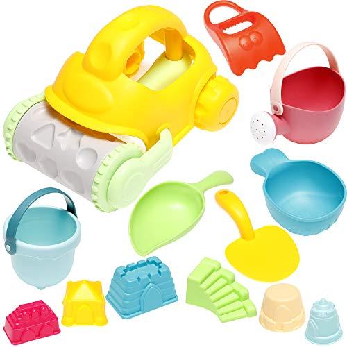 MojiDecor Strand Sandspielzeug Set für Kinder, 13 Stück Sandkasten Spielzeug mit Sandförmchen, Sandschaufel, Eimer, Gieskanne, Fahrzeug, Wasser Spielzeug ab 3 Jahre (Zufällige Farbe)