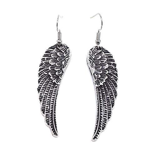 Diseño europeo y americano alas de ángel retro pendientes hipster exagerados pendientes de alas rectos