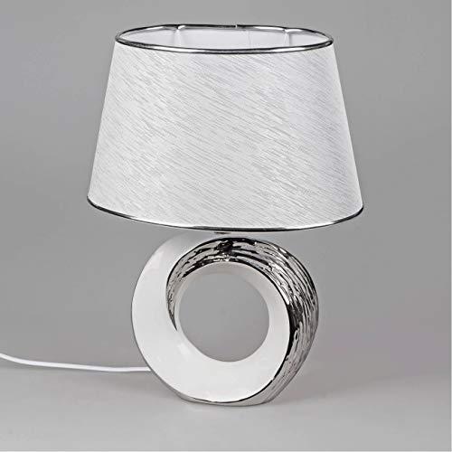 formano Tischlampe, Leuchte WHITESILVER rund H. 42cm weiß Silber