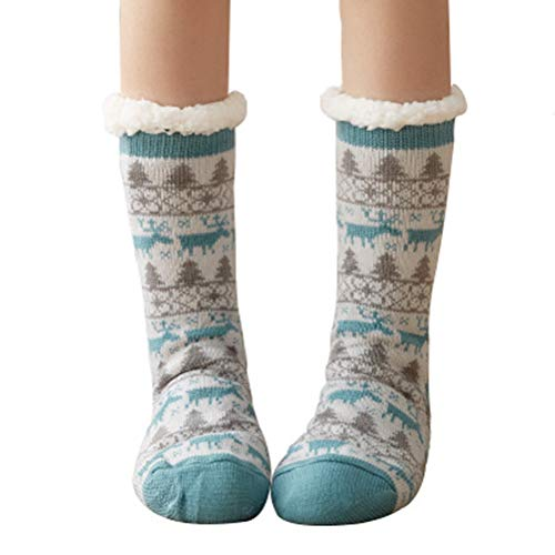 ULEEMARK Mujer Calcetines Antideslizantes Mantener Caliente Caseros Súper Suaves Forrados de Lana Para el Invierno Calcetines