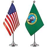 WEITBF Washington State Desk Flag Small Mini Washington Office Table Flag with Stand Base,2 Pack