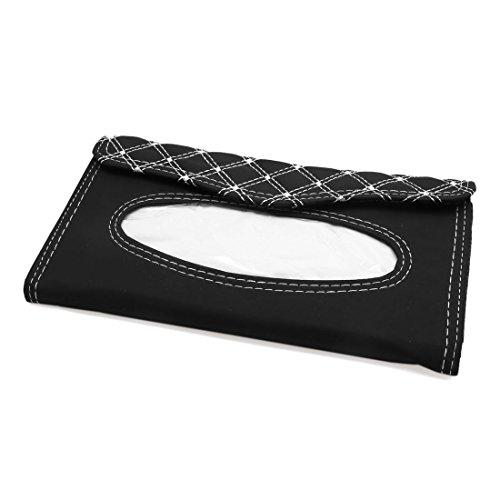 uxcell Auto Car Sun Visor Tissue Box Holder Napkin Paper Storage Case Cover Black White