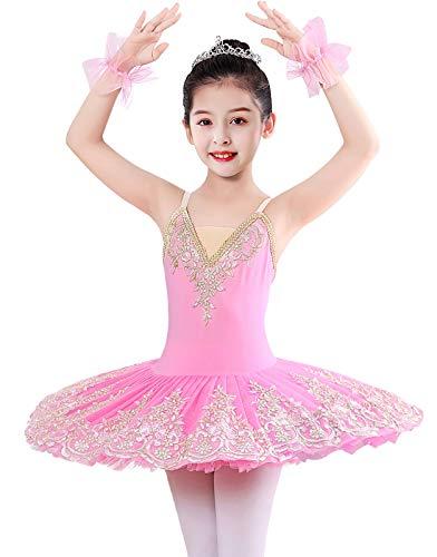 Z&X Vestido de ballet para niñas, con encaje brillante, para ballet y gimnasia, tutú, falda de cisne, para 4 a 13 años