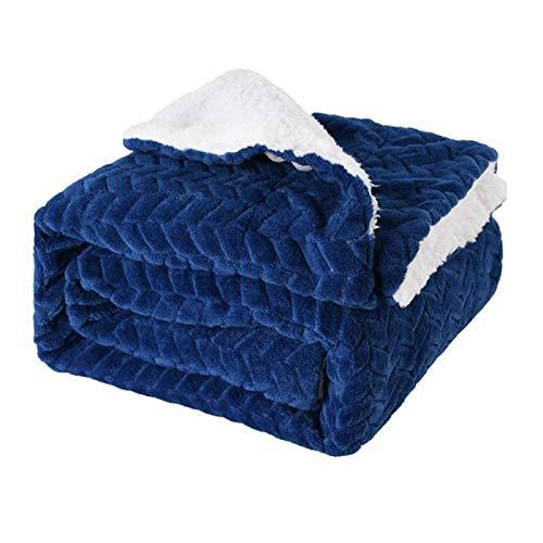 KILLM Doppellagiges Deckenvlies Große Decken Aus Weichem Flanell Mit Doppelbett Mikrofaser-Sofadecke Für Stühle/Bett/Büro - Exquisite Bettwäsche Warm Gemütlich Langlebig 150 × 120 cm,Blue