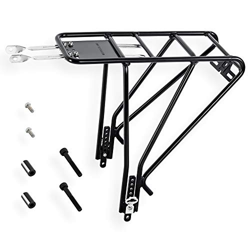 CyclingDeal CYCLINGDEL Aluminum Alloy Rear Pannier Cargo Bike Bicycle Rack Touring - for Disc & Non Disc Brake Road & Mountain Bike Carrier - for Heavy Duty Luggage Bag - Max Load 27kg or 60 lbs