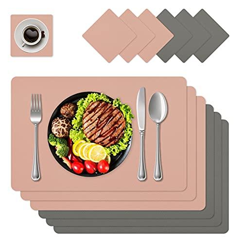 Juego de manteles de piel lavable, juego de 6 piezas, juego de mesa de color rosa, aspecto de piel, impermeable, para mesa de comedor familiar, 45 x 30 cm, gris + rosa