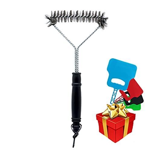Cepillo para la limpieza de parrillas para barbacoa y horno, limpiador manual negro para parrilla de barbacoa con cerdas de acero (16 x 30,5 cm) con abanico de color aleatorio