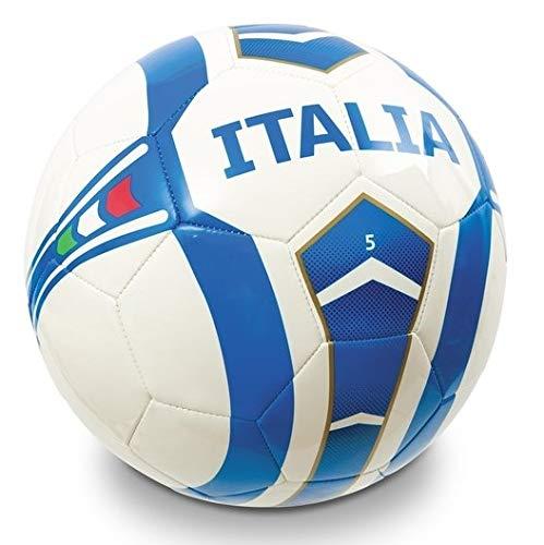 Mondo Sport, Pallone da Calcio Cucito Italia Team, Colore Bianco Azzurro, Size 5, 13919