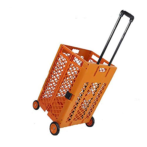 Mesh Rolling Utility Cart,Portable Folding and Collapsible Hand Crate on Wheels,Push/Pull Cart,Laundry Cars, Rolling Carts for Groceries Shopping Seniors,55 Lbs Capacity,Orange
