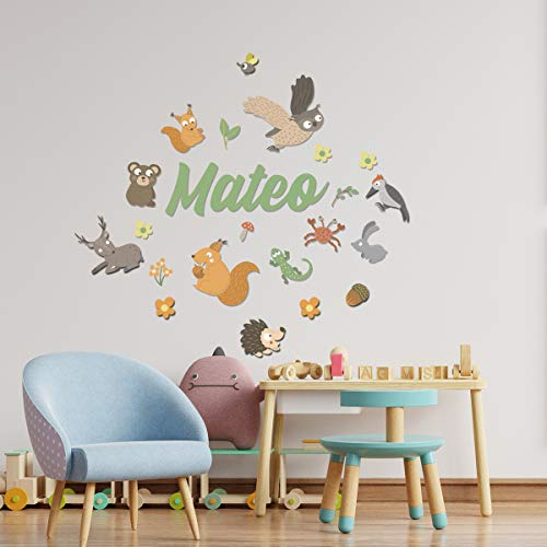 Detalles Creativos   Vinilo con diseño + Nombre en Pegatina Vinilo Personalizado con Figuras Decorativas Infantiles para Pared. Decoración de guardería. para Dormitorio (Animales del Bosque)