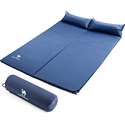 CAMEL Sleeping Pad, Double Sleep Mat with Pillows, Self-Inflating Foam Padding, for Camping, Picnic, Outdoor, Lightweight
