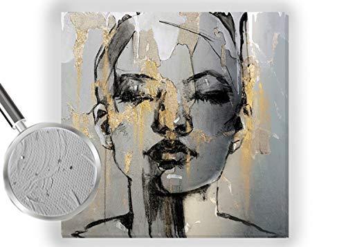 Ivoni Trade Handgemaltes Bild Abstraktes Gesicht Weibliche Acryl Grau Goldene Dekoration für zu Hause (100 x 100 cm)