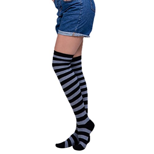 Oyedens 1 Paar Damen Overknee Strümpfe Lange Kniestrümpfe Retro Schüler Überknie Strick Socken...