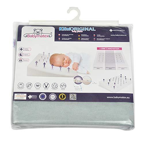 Almohada para bebé antiplagiocefalia marca CE para bebés y niños Medical Device anti reflujo antiasfixia hipoalergénico Made in EU y OEKO-TEX® para cuna y cuna desenfundable 40 x 36 (gris)