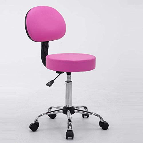 QLIGAH Taburete con rodillos, silla giratoria con asiento cubierto de piel sintética de poliuretano rosa, altura ajustable de 52 a 60 cm, hasta 160 kg, asiento de trabajo con respaldo para tatuaje