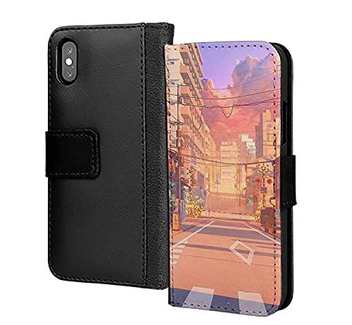 Street Anime Gaming 90S futurista cubierta pu cuero cartera en tarjeta teléfono caso cubierta para iPhone 12 mini