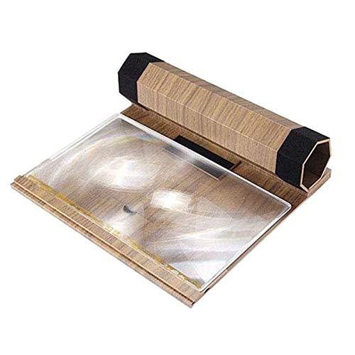 Iycorish 12 Zoll HD Bildschirm Lupe, Faltbarer Massiv Holz Maserung Handy Bildschirm, Geeignet zum Ansehen Von Film Videos auf Alle Smartphones (Nussbaum)