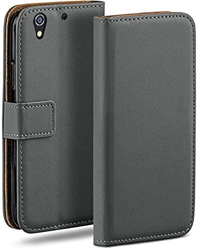 moex Klapphülle kompatibel mit HTC Desire 626G Hülle klappbar, Handyhülle mit Kartenfach, 360 Grad Flip Hülle, Vegan Leder Handytasche, Dunkelgrau