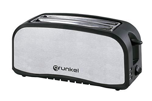 Grunkel - Tostadora en Acero Inoxidable de Doble Ranura Larga para Pan de 1400W de Potencia. Funciones descongelar y Calentar sin tostar. 7 Niveles de Tostado y Bandeja Recoge Migas. Modelo TSM-L24