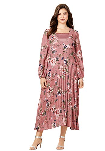 Roamans Women's Plus Size V-Neck Pleated Dress - 32 W, Rose Watercolor Floral