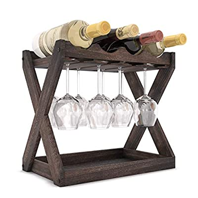 Rustic State Cava Solid Wood Wine and Glass Rack Table Top Bottle Holder Walnut
