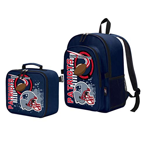 NFL New England Patriots 'Accelerator' Backpack & Lunch Kit Set, 16' x 9.5' x 12'