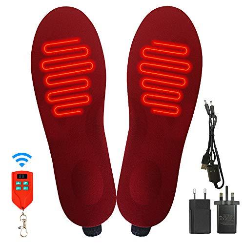 J JINPEI Elektrisch Beheizbare Einlegesohlen Thermosohlen Herren und Damen, beheizbare sohlen mit Fernbedienung, Eingebaute Wiederaufladbare Li-Batterie, 3-stufige Temperaturregler, Einstellbare Größe