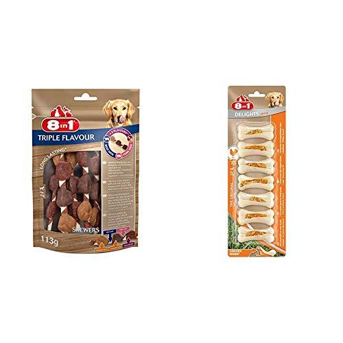 8in1 Triple Flavour Skewers Kausnack 6 Stück umwickelt mit Hähnchenfilet, 1-er Pack (113 g) & Delights Chicken Kauknochen Strong XS, extra stark für kräftig kauende sehr kleine Hunde, 7 Stück (140 g)