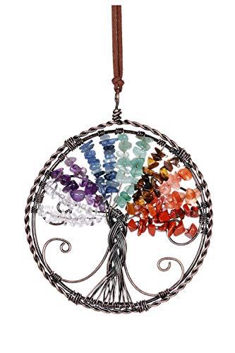 Jovivi 7 piedras preciosas de chakras, diseño de árbol de la vida, colgante para pared, ventana, Feng Shui