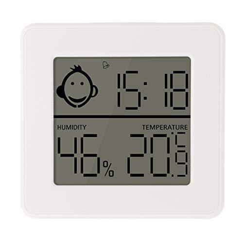 Lantelme Digital Thermometer Hygrometer mit Min Max Uhrzeit Alarm Timer Datum Funktion für Zimmer Innen 8310