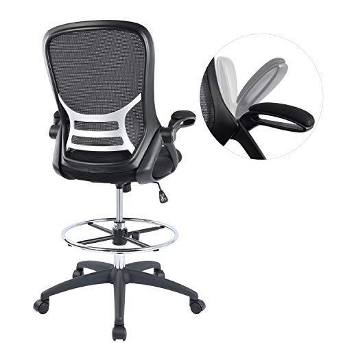 High-Back Mesh Ergonomic Drafting Chair Tall Office Chair Standing Desk Stool with Adjustable Foot Ring and Flip-Up Arms (Black)