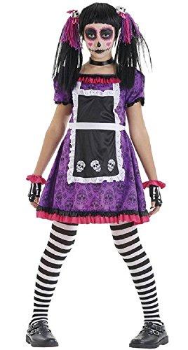 Fancy Me Mädchen Tag der Toten Puppe Mexikanisch Halloween Kostüm Kleid Outfit 4-12 Jahre - Lila/Schwarz, Lila/Schwarz, 4-6 Years