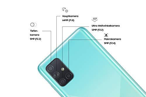 Samsung Galaxy A71 (16.95cm (6.7 Zoll) 128 GB interner Speicher, 6 GB RAM, Dual SIM, Android, prism crush Blau) Deutsche Version