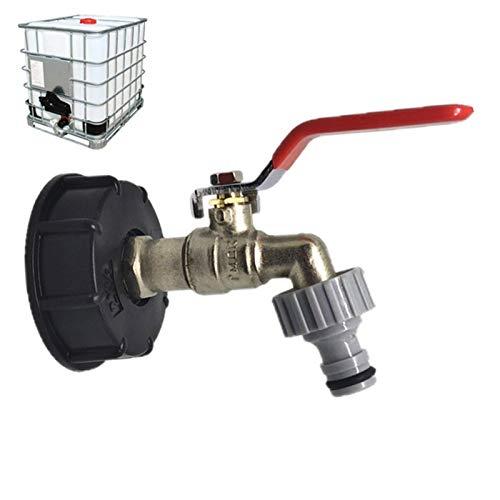 popchilli IBC Tankadapter IBC Tote Tank Ablaufadapter Wassertank Hahnanschluss S60X6 auf Messing Gartenhahn mit 1/2 Zoll Schlauchverschraubung Öl Kraftstoff Wasser