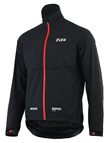 FDX Mens Waterproof Cycling Jacket Breathable Lightweight Running Coat (Black/Red, Large)