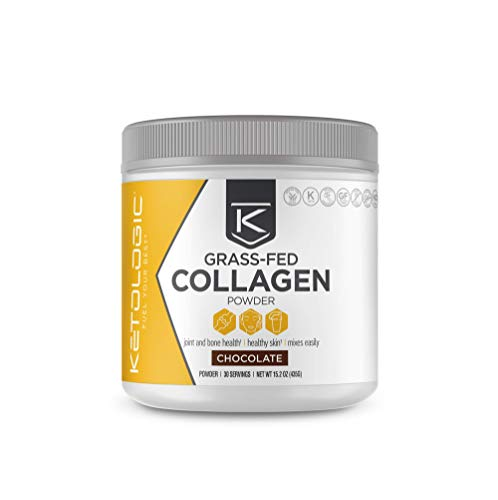KetoLogic Grass-fed Keto Collagen Powder: Sugar-Free, Low Carb, Collagen Peptides Supplement | Keto & Paleo Friendly, Gluten Free, Fortified with Electrolytes | Chocolate – 30 Servings