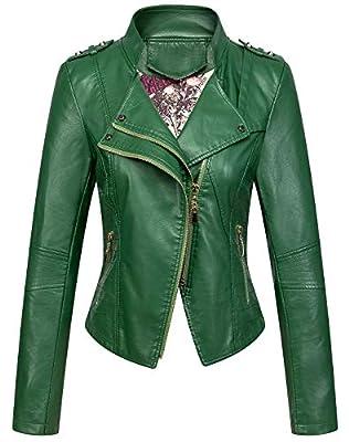 Chouyatou Women's Candy Color Asymmetric Zip Slim Faux Leather Cropped Moto Jacket (XX-Large, Green)