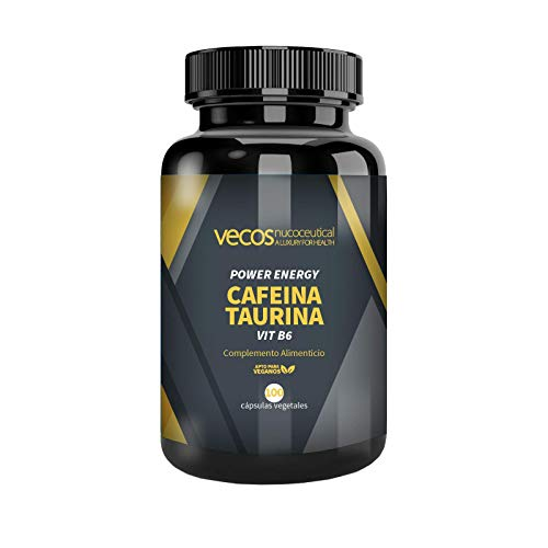 Power Energy de Vecos para la mejora del rendimiento físico – Cafeína, taurina y vitamina B6 para contribuir al aumento de volumen muscular y activar la energía – 100 cáps. vegetales – Producto vegano