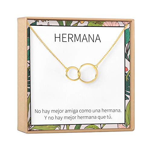 Collar Regalo Para Hermana: Joyería, Mayor, Menor, Cumpleaños, Navidad, 2 Asymmetrical Circles (gold-plated-brass, NA)