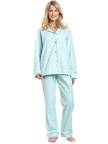 Cotton Flannel Pajamas Women, 2Pc Pajama Set for Women - Dots Diva AQ-GY - 2XL