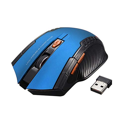 Computer Mouse, 2.4G Wireless 6 Keys 1600DPI Auto Sleep Optical Gaming Mouse Mice for PC Laptop - Blue