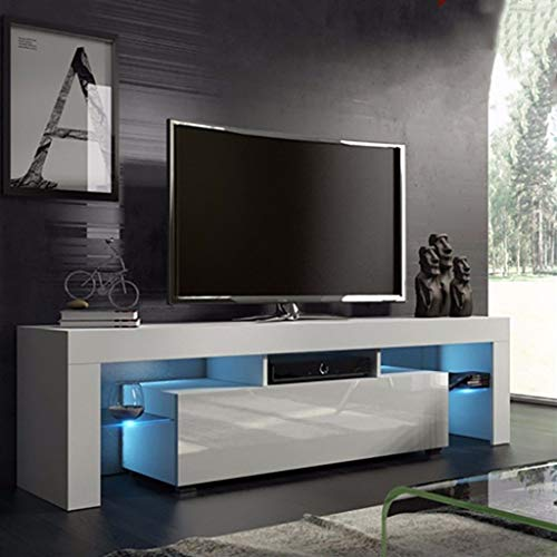 US Fast Shipment Quaanti TV Stand with High Gloss LED Lights, Media TV Console Table Storage Cabinet Drawers,Large TV Stand Shelves for 43/55/50/65 Inch TV for Living Room Furniture (White)