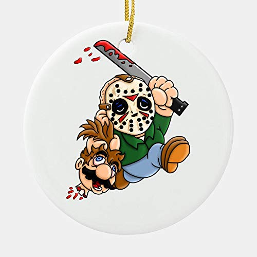 Fastei Christmas Ornament Jason 13Th Chibis Voorhees Cut Head Man Friday Fairy Party Winter for Home Living Room Decoration Kit Tree Outdoor Ceramic Round 2pcs/Pack