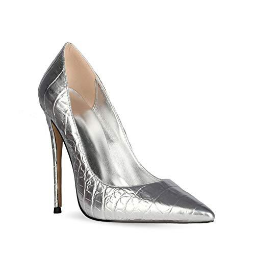 Zapatos de Tacón para Mujer,12CM Patrón de cocodrilo de metal Elegante punta...